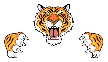 Tiger head and claws
