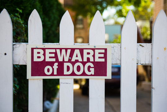 Beware of dog sign on white picket fence