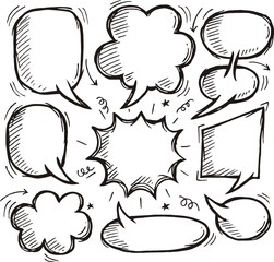 Set of Comic blank text speech bubbles in doodle style - vector illustration
