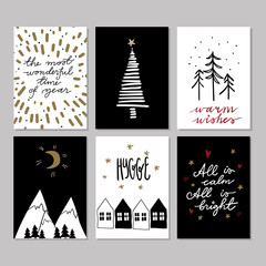Set of doodle Christmas greeting cards. Vector hand drawn cute icons. Scandinavian style. Xmas tree, house, garland, mountains and lettering. New Year scrapbooking. Holiday festive party.