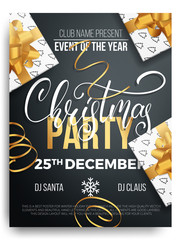 Merry Christmas party. Background of Christmas lettering, gift packages and curly gold gift ribbons