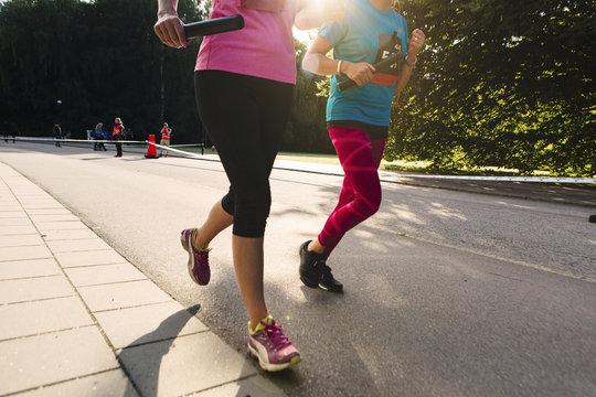 Relay race in street