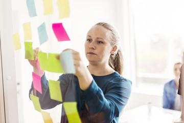 Young woman looking at adhesive notes
