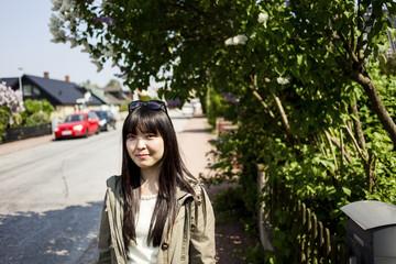 Portrait of woman in street