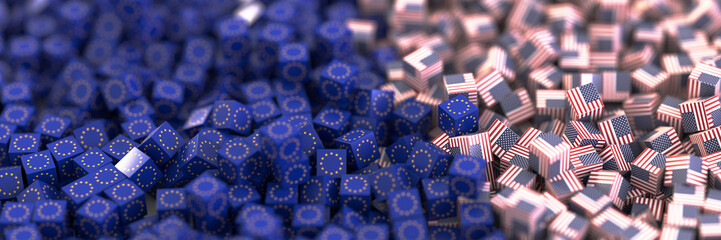 United States and Europe economic and political relationship, original 3d rendering