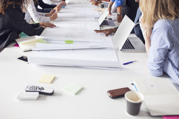 Projects and files on conference table