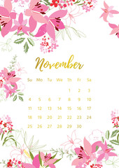 Vintage floral calendar 2018