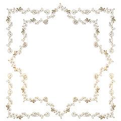 メタリックの質感のオーナメント|四角形+星型 ゴールド|Baroque ornaments of metallic texture