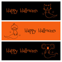 Hand drawn vector banners in black and orange with cute funny cartoon ghost animals: cat, duck, koala, with place for text.