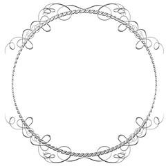 メタリックの質感のオーナメント|円形 シルバー|Baroque ornaments of metallic texture