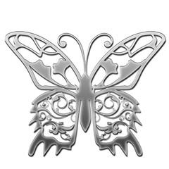 メタリックの質感のオーナメント|蝶のフレーム、蝶のイラスト|Baroque ornaments of metallic texture
