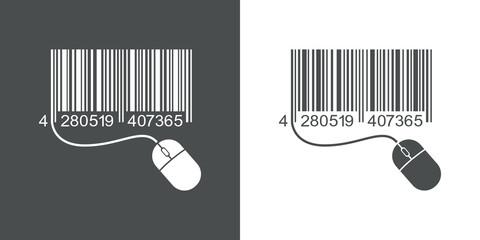 Icono plano codigo de barras mouse gris y blanco