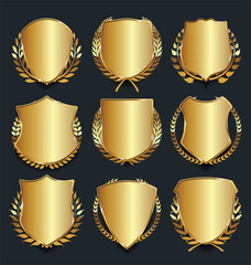 Golden shield retro design vector illustration collection