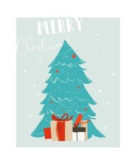 Hand drawn vector abstract fun Merry Christmas time cartoon illustration with blue Christmas tree and many surprise gift boxes isolated on blue background.
