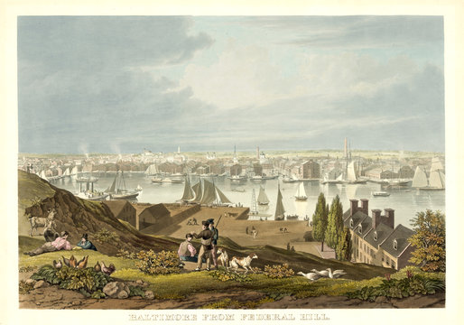 Old view of Baltimore from Federal Hill. By Bennet, publ. in New York ca. 1831