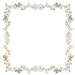 メタリックの質感のオーナメント 四角形 ゴールド Baroque ornaments of metallic texture