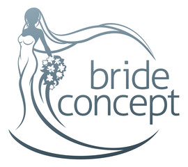 Bride Silhouette Flower Bouquet Concept