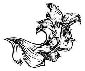Floral Filigree Pattern Scroll Heraldry Design