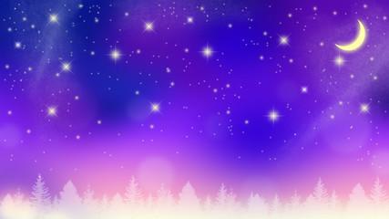 夜明け前の満天の星空と新月