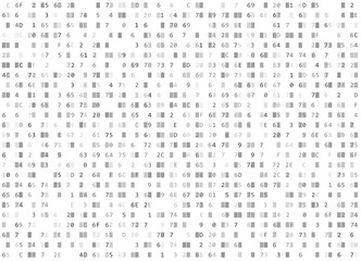 Vector hexadecimal code white seamless background. Big data and programming hacking, decryption encryption, computer streaming byte source. Coding hex-editor or Hacker concept texture or web page fill