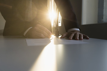 Businessman signing an important agreement
