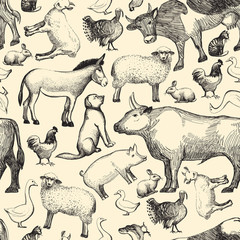 Farm animals doodle seamless pattern template for menu design restaurant or cafe
