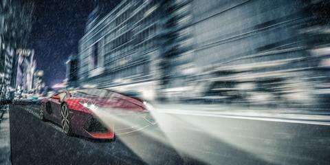 sportwagen / stadt / nachts / regen