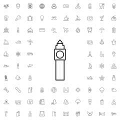 Big ben tower icon. set of outline tourism icons.