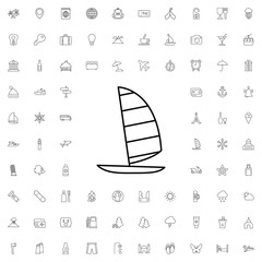 Windsurfing icon. set of outline tourism icons.