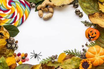 Halloween background with leaves and pumpkins.