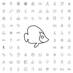Fish icon. set of outline tourism icons.