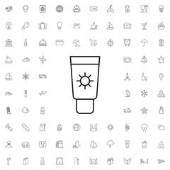 Uv sunscreen icon. set of outline tourism icons.