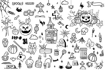 Halloween Doodle Set on White Background. Creative design for invitation and party. Hand Drawn Vector illustration for your design