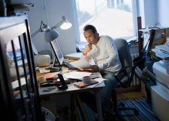 Man working in his home office