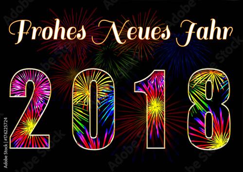 Frohes Neues Jahr 2018, Schriftzug gefüllt mit Feuerwerk\