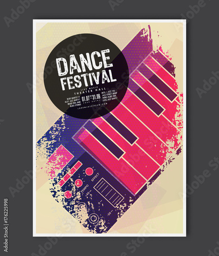 Music poster template  Vector Dance music flyer background with