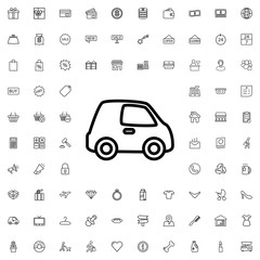 Car icon. set of outline shopping icons.