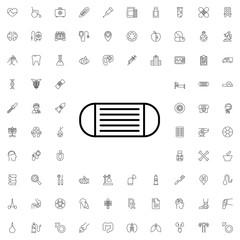 Medical mask icon. set of outline medicine icons.