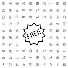 Free icon. set of outline shopping icons.