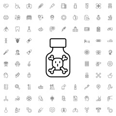Poison icon. set of outline medicine icons.