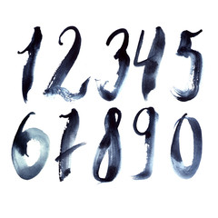 Hand drawn set with dark blue numbers writing in freehand style. Grainy digits from 1 to 9 and zero