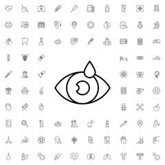 Eye drop icon. set of outline medicine icons.