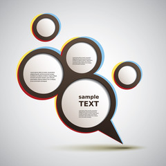 Abstract Colorful Round Speech Bubble Concept Design - Illustration in Freely Editable Vector Format