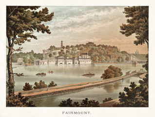 Old view of Faimount, Philadelphia, Pennsylvania. By unidentified author, publ. in 1871