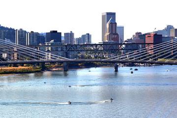 Portland city of Bridges on a white background