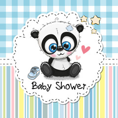 Baby Shower Greeting Card with Cartoon Panda
