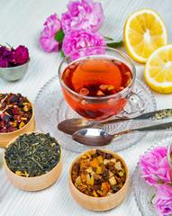 tea, fruit tea, Cup of tea, various kinds of tea, tea on the table