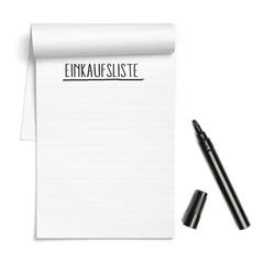 Einkaufsliste steht geschrieben auf Notizblock