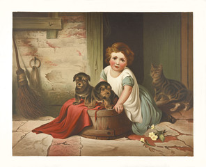 Old illustration depicting small girl and her puppies cat in background). By Queen and Fuller, publ. ca 1870
