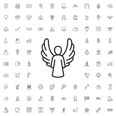 Angel icon. set of outline holiday icons.